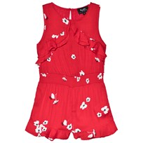 Bardot Junior Red Floral Ruffle Playsuit Red