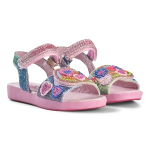 Image of Lelli Kelly Blue and Pink Glitter and Bead Heart Sandals 31 (UK 12.5) (3014541577)