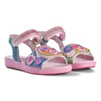 Lelli Kelly Blue and Pink Glitter and Bead Heart Sandals Multi