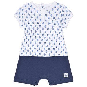 Image of Petit Bateau Blue and White Print Baby Body 3 Months (3014545419)