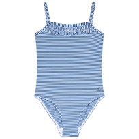 Petit Bateau Blue and White Striped Swimsuit