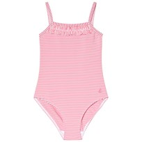 Petit Bateau Red and White Striped Swimsuit
