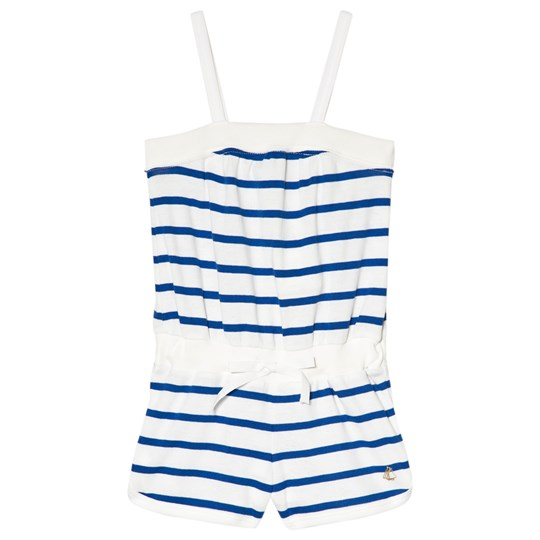 Petit Bateau Navy and White Striped Onesie