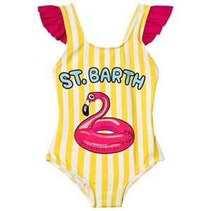 Image of MC2 St Barth Yellow Striped Flamingo Float Swimsuit 10 years (3014546759)