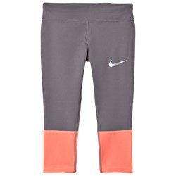NIKE Gray and Pink Power Running Tights
