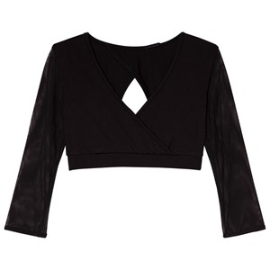 Image of Bloch Black Aurelia Mesh Sleeve Wrap Top 12 years (3014541525)