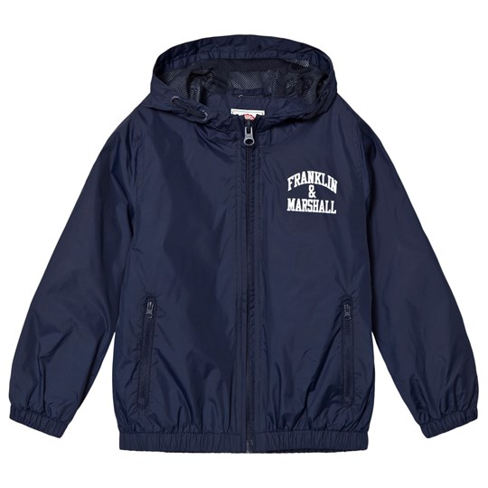 Franklin & Marshall Navy Branded Windbreaker Jacket Navy