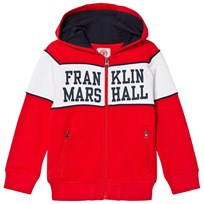 Franklin & Marshall Red Logo Chest Full Zip Hoodie LETTERBOX RED