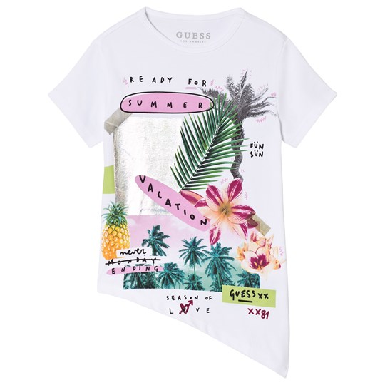 Guess White Tropical Summer Asymmetric Tee TWHT