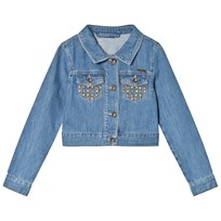 Guess Mid Wash Studded Frill Denim Jacket BNAW