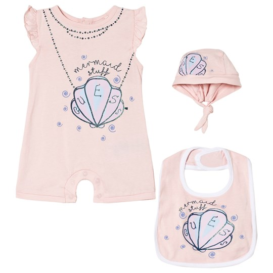 Guess 3 Piece Pink Mermaid Shell Print Romper, Bib and Hat Gift Set PIK