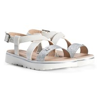 Tommy Hilfiger White Glitter Branded Strappy Sandals 100