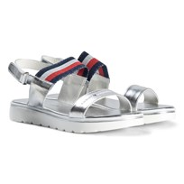 Tommy Hilfiger Silver Glitter Flag Branded Sandals 904