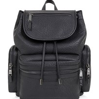 Tiba + Marl Black Kaspar Faux Leather Backpack BLACK FAUX