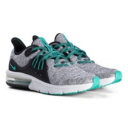 NIKE Gray and Green Air Max Sequent 3 Running Shoe