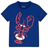 Lands End Blue Lobster Graphic Short Sleeve Rash Guard LXT