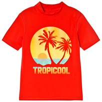Lands End Red Tropical Sunset Graphic Short Sleeve Rash Guard 8BV