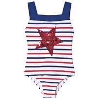 Lands End White Swimsuit with Red and Navy Stripes and Sequin Star RET
