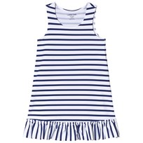 Lands End White and Blue Striped Swim Dress 7IG