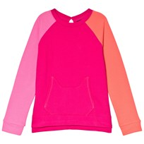 Lands End Pink Colour Block Long Sleeve French Terry Sweatshirt GB9