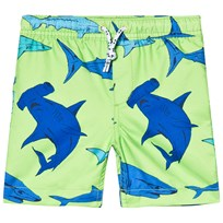 Lands End Green Shark Print Swim Trunks 7JT
