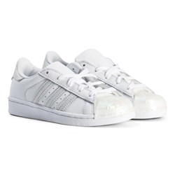 adidas Originals White and Silver Kids Superstar Trainers