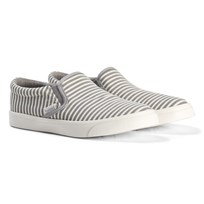 Hummel Gray Alloy And White Stripe Slip-On Stripe Shoes Alloy