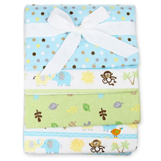 Carlobaby 4-Pack Cotton Blanket Turquoise/Green Blue