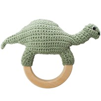 sebra Crochet Rattle Dino on Wooden Ring Green