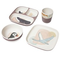sebra Bamboo melamine dinner set, 4 pcs, Arctic animals Nude rosa