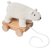 sebra Crochet Pull-Along Polar Bear White