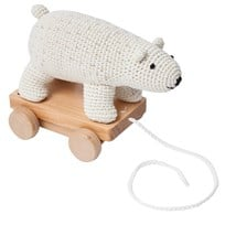 sebra Crochet Pull-Along Polar Bear Hvit