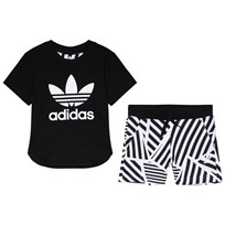 adidas Originals Black and Stripe Graphic Boys Branded Kids Tee and Shorts Set Top:BLACK/WHITE Bottom:WHITE/BLACK