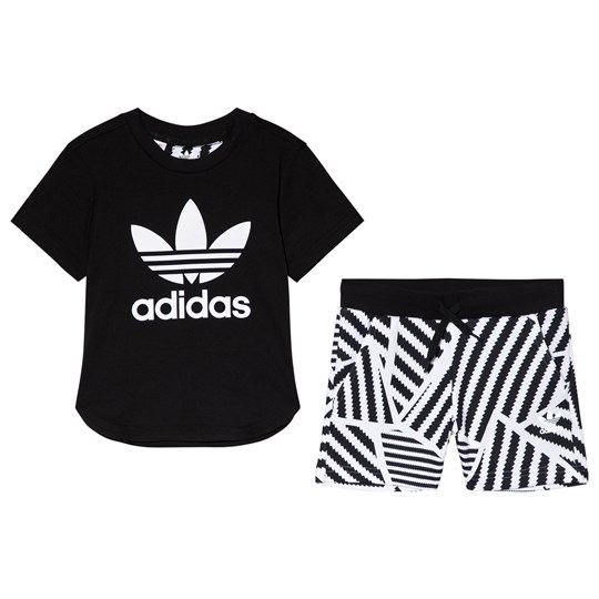 adidas Originals Black and Stipe Branded Tee and Shorts Set Top:BLACK/WHITE Bottom:WHITE/BLACK