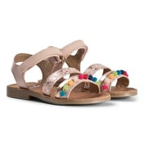Shoo Pom Happy Pompon Sandals in Multicolor Poudre Multi