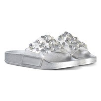 Lelli Kelly Silver Flower Applique Sliders Hopea