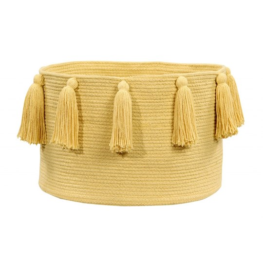 Lorena Canals Tassel Basket Yellow environmentally friendly colors