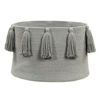 Lorena Canals Tassel Basket Light Grey environmentally friendly colors