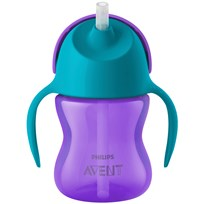 Philips Avent Straw Cup 9m+ 200ml Purple/Turquoise Beige