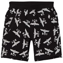 Boy London Black and White Eagle Repeat Jersey Shorts Musta