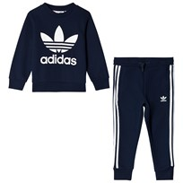 adidas Originals Navy Boys Logo Kids Crew Sweater and Joggers Set Top:COLLEGIATE NAVY/WHITE Bottom:COLLEGIATE NAVY/W