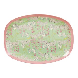 Rice Large Rectangular Melamine Plate with Butterfly and Flower Print