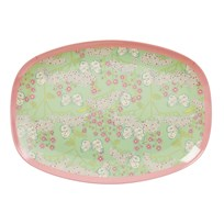 Rice Large Rectangular Melamine Plate with Butterfly and Flower Print green pink