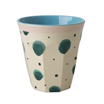 Rice Melamine Cup With Watercolor Splash Print cream green blue