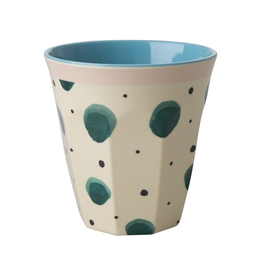 Rice Medium Melamine Cup with Watercolor Splash Print cream green blue