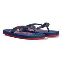 Ralph Lauren Navy and Red Logo Flip Flops Navy