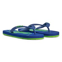 Ralph Lauren Royal Blue and Lime Logo Flip Flops Royal