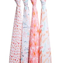 Aden + Anais Pink Petal Blooms Pack of 4 Swaddles petal blooms