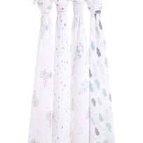 Aden + Anais White & Blue Night Sky Reverie Pack of 4 Swaddles night sky reverie