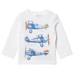 Mayoral Retro Airplane Print Tee White